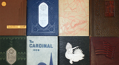 Photo of past yeabook covers.