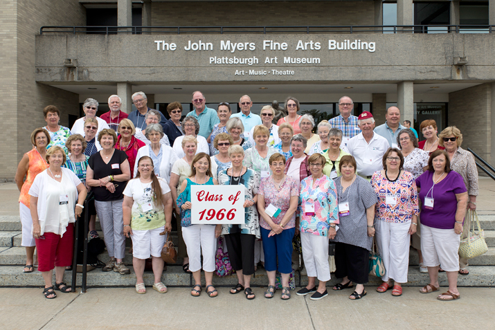 Class of 1966 Celebrating their 50th Anniversary in front of Myers Fine Arts building